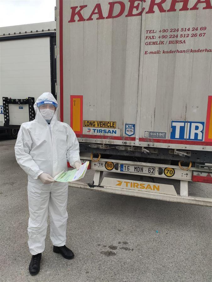Bursa Gümrük Müdürlüğü TIR Parkı ve Supalan Sahası Covid19 Virüsü Korunma Kapsamında Görevli Personel